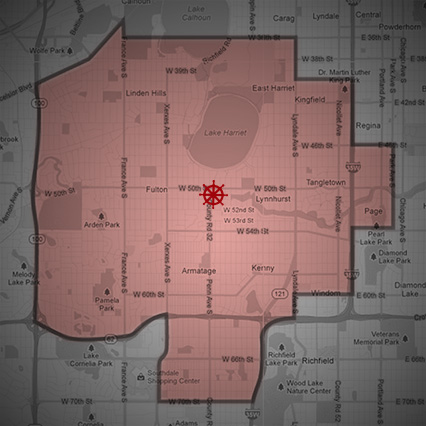 Lake Harriet Pizza Delivery Map